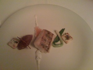 Fisch mit Flammkuchen