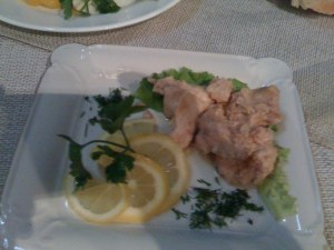 Salted Sturgeon with lemon and olive oil