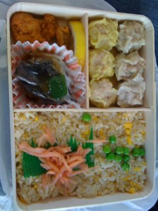 Bento with rice and dough tibits