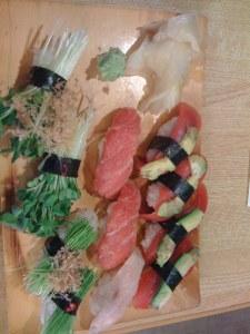Suhsi with radish, welsh onions, fatty tuna and regular tuna and avocado
