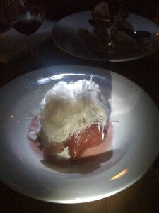Pear with cotton candy