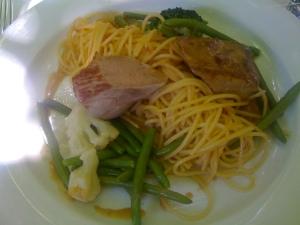 Schweinsfilet mit Gemüse und Spaghetti