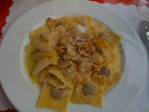 Homemade ravioli with pears